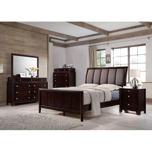 Madison Transitional Dark Merlot and Taupe Grey Eastern King Bed