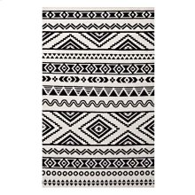Haku Geometric Moroccan Tribal 8x10 Area Rug in Black and White