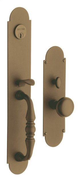 Satin Brass and Brown Lancaster Entrance Trim