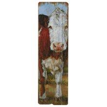 Vertical Brown & White Cow Wall Decor