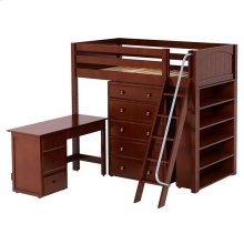 High Loft w/ Angle Ladder, 5 Drawer Dresser, Desk & Bookcase : Twin : Chestnut : Panel