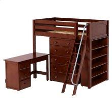 High Loft w/ Angle Ladder, 5 Drawer Dresser, Desk & Bookcase : Twin : Chestnut : Panel