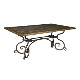 72IN Rect Dining Table W/ Metal Base - Black Forest