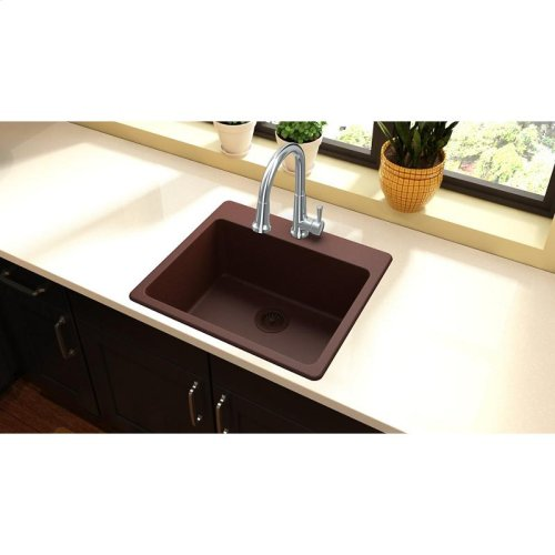 "Elkay Quartz Classic 25"" x 22"" x 9-1/2"", Single Bowl Drop-in Sink, Pecan"