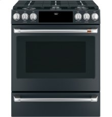 """Café 30"""" Slide-In Front Control Dual-Fuel Convection Range with Warming Drawer"""