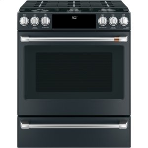"Cafe AppliancesCaf(eback) 30"" Slide-In Front Control Dual-Fuel Convection Range with Warming Drawer"