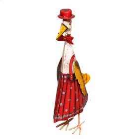 Iron Painted Duck w/Red Dress