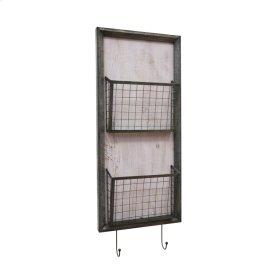 Metal 2 Tier Wall Basket W/hooks, Gray
