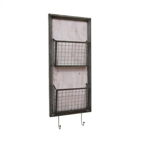 Metal 2 Tier Wall Basket W/hooks, Gray