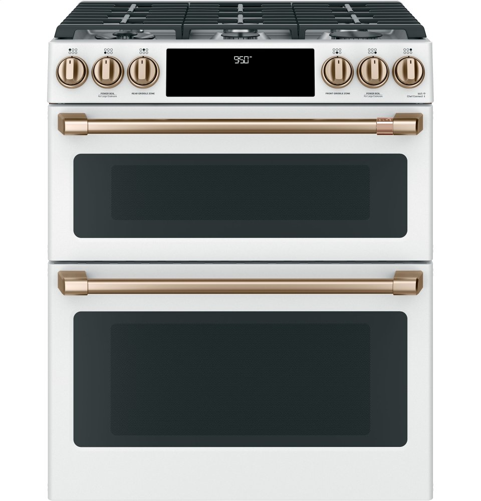 "Caf(eback) 30"" Smart Slide-In, Front-Control, Dual-Fuel, Double-Oven Range with Convection