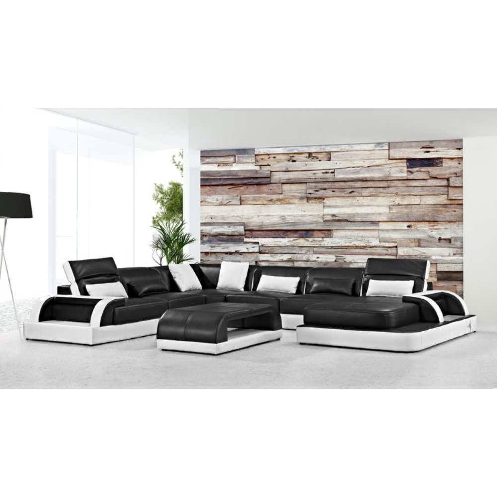 Divani Casa 0872 Modern Black & White Leather Sectional Sofa