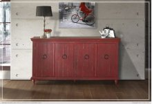 Console w/4 Doors, Red finish