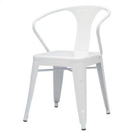 Metropolis Metal Arm Chair, White