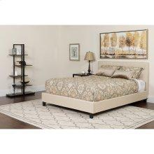 Chelsea Queen Size Upholstered Platform Bed in Beige Fabric