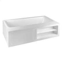 "Freestanding bathtub in Cristalplant® (matt white) L 5' 10-7/8"" W 3' 3-3/8"" H 1' 9-11/16"" with side ledge"