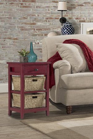 Tuscan Retreat® 2 Basket 1 Drawer Open Side Stand - Antique Red