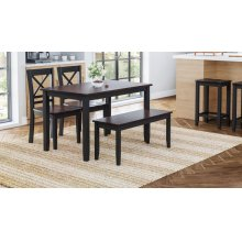 Asbury Park 4-pack - Table With 2 Chairs and Bench - Black /autumn