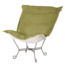 Scroll Puff Chair Bella Moss Titanium Frame