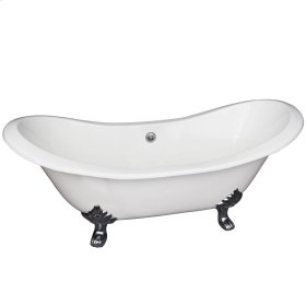 """Macon 61"""" Cast Iron Double Slipper Tub - No Faucet Holes - Brushed Nickel"""