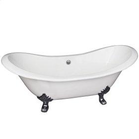 "Macon 61"" Cast Iron Double Slipper Tub - No Faucet Holes - White"