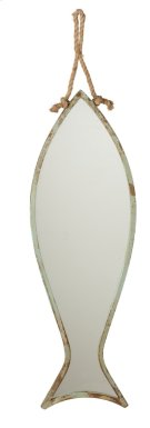Medium Distressed Aqua Fish Mirror on Rope Hanger. Product Image