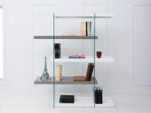 The Il Vetro High Gloss White / Gray Lacquer Bookcase