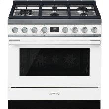 """Portofino Pro-Style Dual Fuel Range, White, 36"""" x 25"""""""