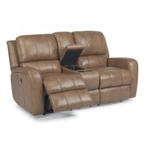 FLEXSTEELHOMEHammond Leather Power Reclining Loveseat with Console