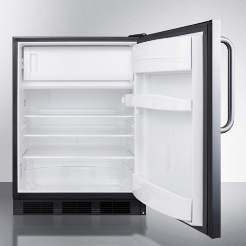 Freestanding ADA Compliant Refrigerator-freezer for General Purpose Use, W/dual Evaporator Cooling, Cycle Defrost, Ss Door, Towel Bar Handle, Black Cabinet