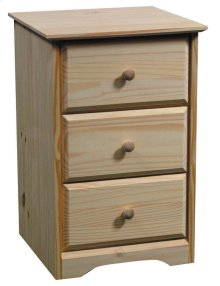 Pine 3 Drawer Nightstand