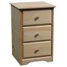 Unfinished Pine 3 Drawer Nightstand
