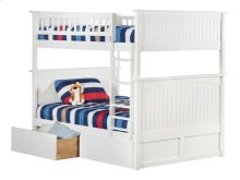 Nantucket Bunk Bed Full over Full with Urban Bed Drawers in White