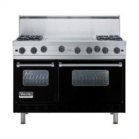 """Black 48"""" Open Burner Range - VGIC (48"""" wide, four burners 24"""" wide griddle/simmer plate)"""