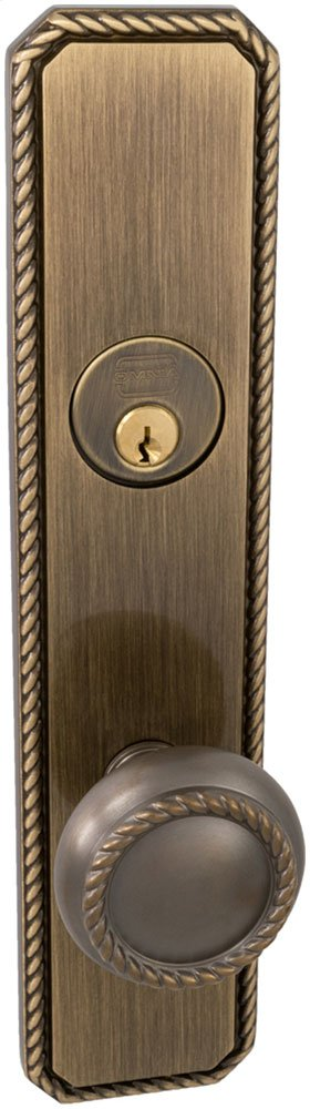 Exterior Traditional Mortise Entrance Knob Lockset with Plates in (US5A Antique Bronze, Unlacquered)