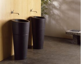 Veneto Pedestal Sink Black Granite