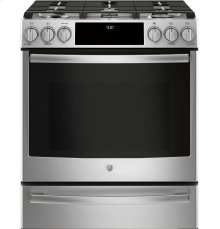 "GE Profile™ Series 30"" Dual Fuel Slide-In Front Control Range"