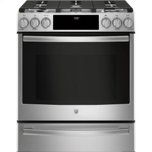"GE Profile30"" Dual Fuel Slide-In Front-Control Range"