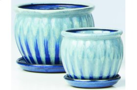 Blue Chaudron Petits Pots with Attached Saucer - Set of 2