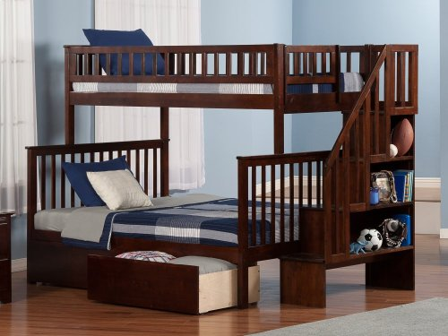 Woodland Staircase Bunk Bed Twin over Full with Urban Bed Drawers in Walnut