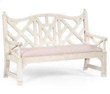 White painted lattice work bench