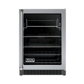 """Stainless Steel 24"""" Glass Door Beverage Centers - VUAR (Black Interior, Clear Glass, Right Hinge)"""