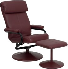 Contemporary Multi-Position Headrest Recliner and Ottoman with Wrapped Base in Burgundy Leather