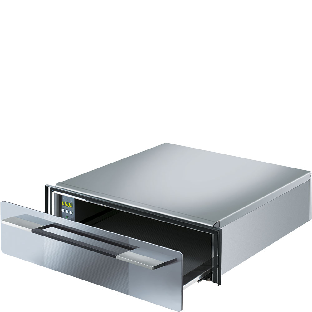 "SmegFood And Dish Warming Drawer For Compact Ovens, 24"" (60cm). Supersilver Silverglass"