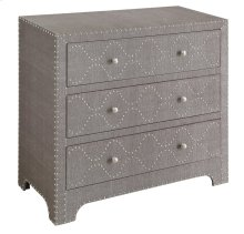 Baxter Grey Linen and Nickel Nailhead 3 Drawer Chest