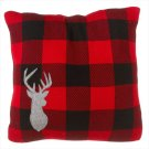 Buffalo Plaid Knit Pillow with Stag. Product Image