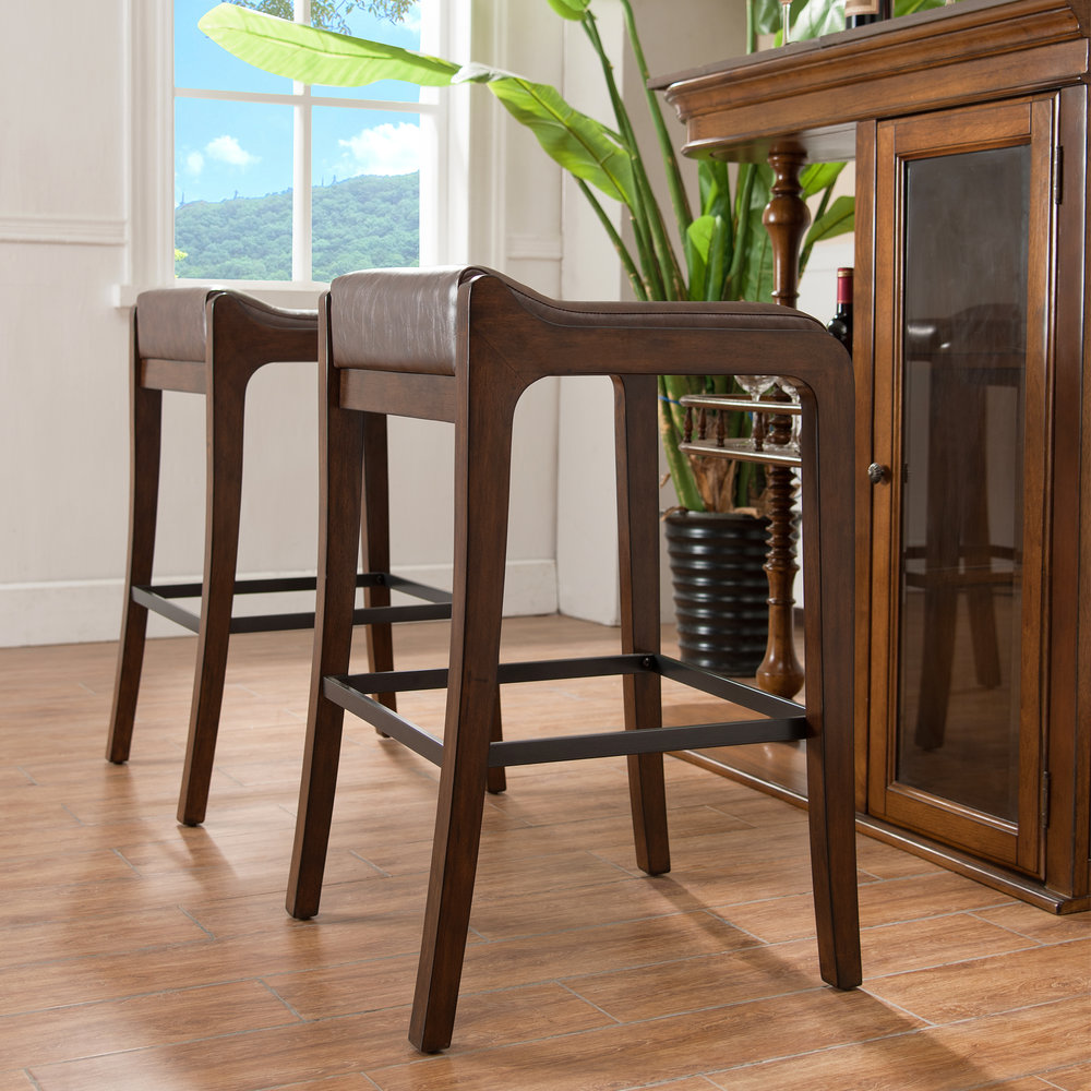 Additional Sienna Wood Fastback Bar Height Stool With Sable Faux Leather  Seat #10117SN/SB