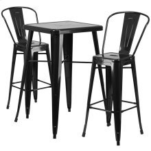 23.75'' Square Black Metal Indoor-Outdoor Bar Table Set with 2 Stools with Backs