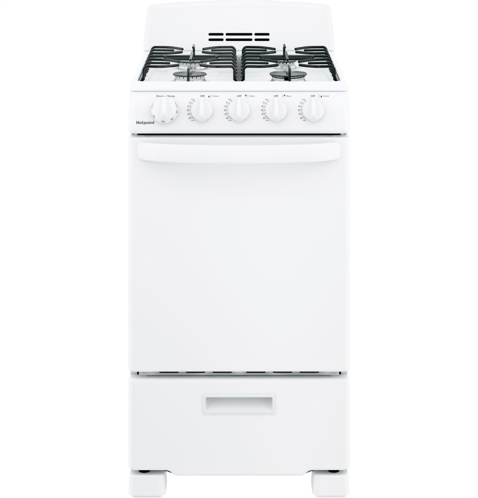 "Hotpoint(R) 20"" Front-Control Free-Standing Gas Range with Sealed Burners