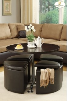 4-Piece Pack Ottomans with Storage