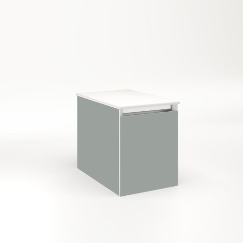 """Cartesian 12-1/8"""" X 15"""" X 18-3/4"""" Single Drawer Vanity In Matte Gray With Slow-close Full Drawer and Night Light In 5000k Temperature (cool Light)"""